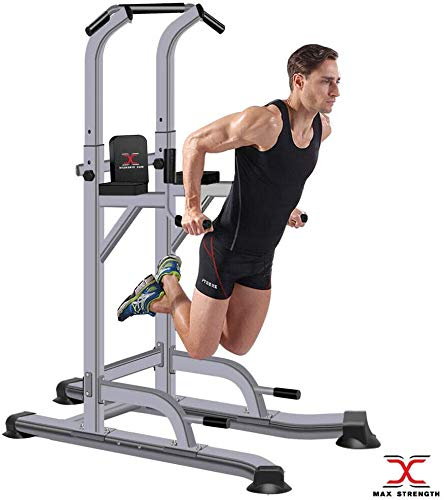MAXSTRENGTH Max Kracht Power Tower Pull Up Bar Dip Station Chin Up voor Thuis Multi Gym Krachttraining Fitnessapparatuur…