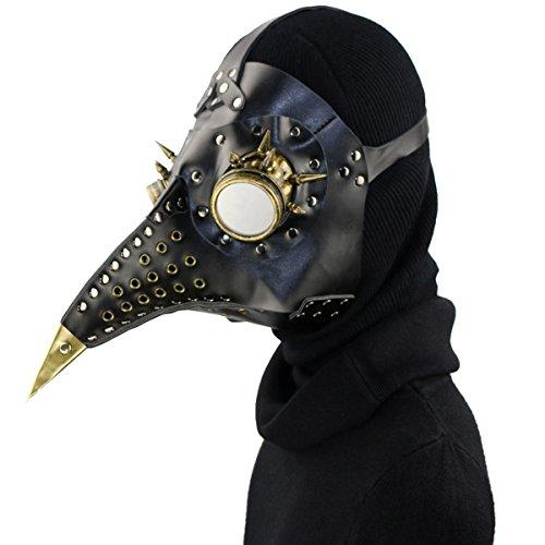 Plague Doctor Mask Birds Long Nose Beak Faux Leather Steampunk Halloween Costume Props (Bird Beak Costume Nose)