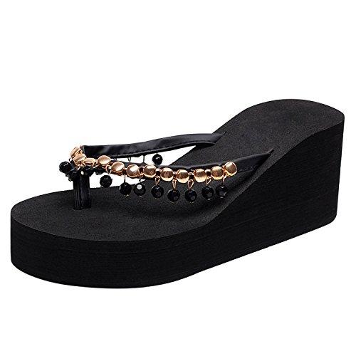 Slippers Femme Mode Confortable Noir Sandales Plat Casual Plage Eté Simple Chaussons Bohême Espadrilles Chaussures Fille Frestepvie Compensé x4pIBYqIw