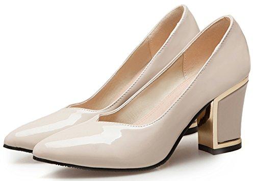IDIFU Womens Classic High Chunky Heeled Pointed Toe Slip On Bridal Pumps Shoes Beige PJSj7jnAIC
