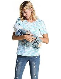 Women Maternity Short Sleeve Black Stripe Breastfeeding Nursing Tops Tee Shirt