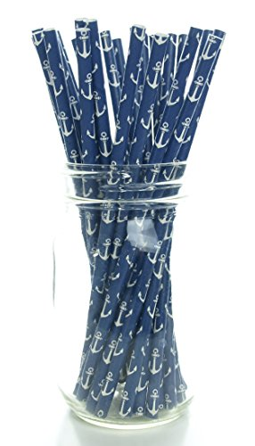 Anchor Nautical Sailing Straws (25 Pack) - Navy Blue Sea Anchors Paper Straws, Sailor Party Supplies, Ahoy Matey Drinking Straws ()