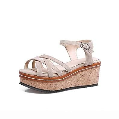 BalaMasa Womens ASL06226 Wedge Open-Back Peep-Toe Apricot Pu Platform Heels - 2.5 UK (Lable:34)