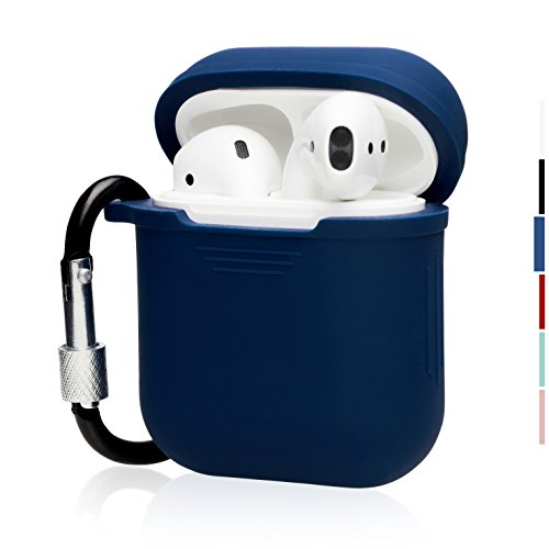 The OAKS Improved Airpods Case Protective Cover Skin with Lockable Carabiner and Airpods Strap Compatible with Airpods Charger Case (6 Colours Available) (Navy Blue)