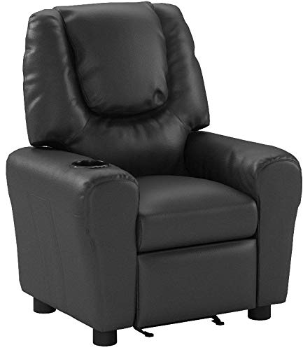 Harper&Bright Designs Kids Recliner with Cup Holder PU Leather Sofa Chair for Child (Black)