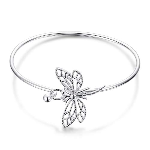 JewelryPalace 925 Sterling Silver Hollow Dragonfly Open Bangle -