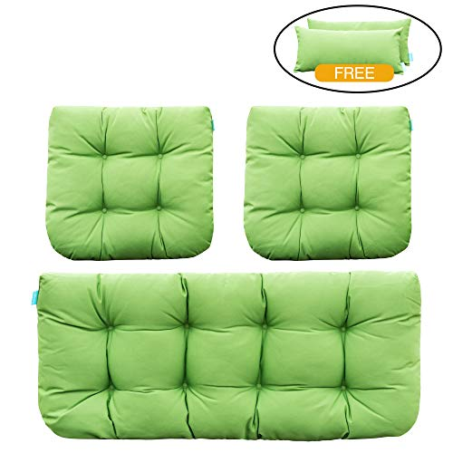 QILLOWAY Outdoor Patio Wicker Seat Cushions Group Loveseat/Two U-Shape/Two Lumbar Pillows For Patio Furniture,Wicker Loveseat,Bench,Porch,Settee of ()