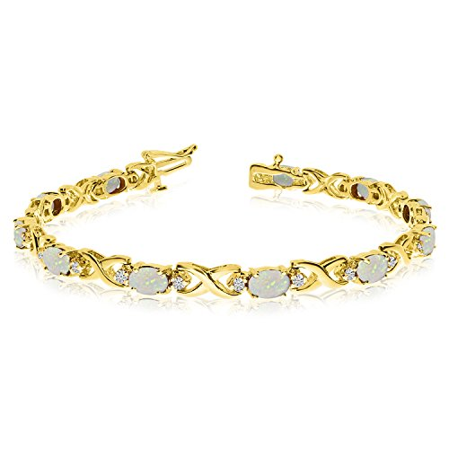 14k Yellow Gold Natural Opal And Diamond Tennis Bracelet (8 Inch Length) ()