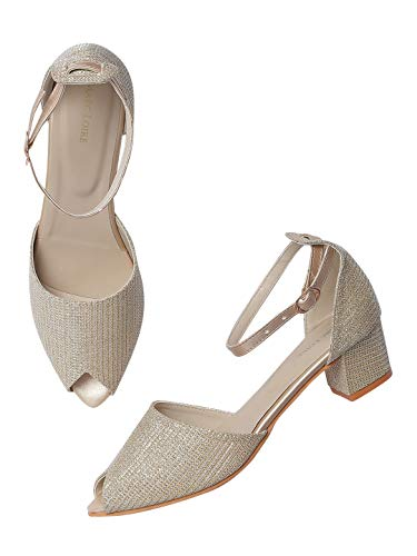 Marc Loire Women's Faux Leather Peep Toe Comfortable Block Heel Sandals for Casual Wear, Party and Formal Occasions.