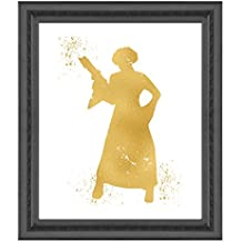 Gold Print - Princess Leia- Inspired by Star Wars - Gold Poster Print Photo Quality - Made in USA - Home Art Print -Frame not included (11x14, Princess Leia)