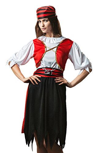 Adult Women Pirate Wench Halloween Costume Sweet Buccaneer Dress Up & Role Play (One Size - Fits All, white, black, (Pirate And Wench)