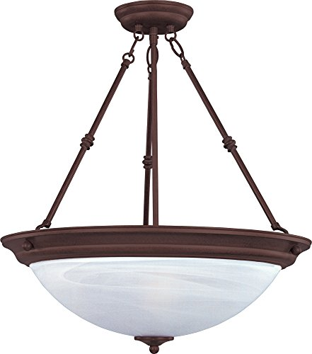 Maxim 5845MROI Essentials 3-Light Invert Bowl Pendant, Oil Rubbed Bronze Finish, Marble Glass, MB Incandescent Incandescent Bulb , 60W Max., Dry Safety Rating, Standard Dimmable, Metal Shade Material, Rated Lumens