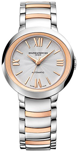 Baume & Mercier Promesse Womens Self Winding Stainless Steel Rose Gold Watch with Sapphire Crystal - 30mm Silver Face Analog Two Tone Swiss Automatic Dress Watch For Women 10183