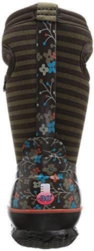 GIRLS BOGS WELLINGTON BOOTS INSULATED SIZE UK 12 - 5 FLOWER STRIPES CHOC 71560