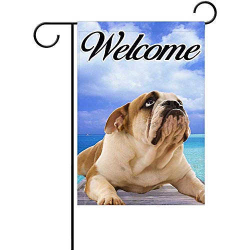 GOOESING Angry Bull Dog Welcome Pattern Polyester Yard Patio Garden Decor Flag 16x30 Inch Two Sided Print -