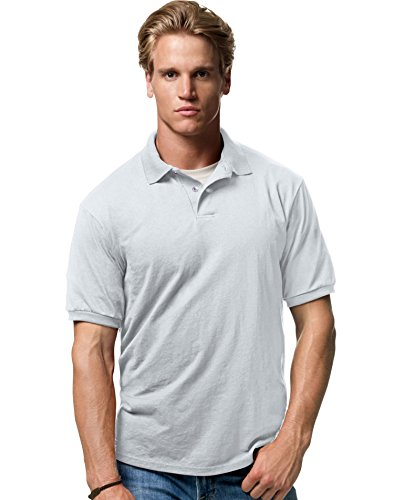 Heritage Jersey T-shirt - Hanes Adult EcoSmart Jersey Polo, Light Steel, XX-Large