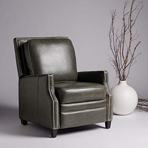 Safavieh Couture Home Buddy Aged Black Leather Nailhead Trim Recliner Chair
