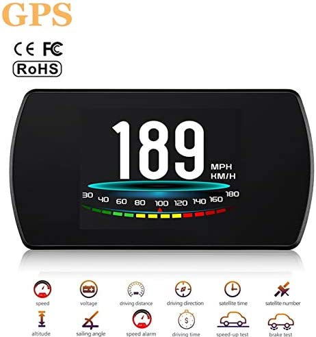 ACECAR Upgrade T800 Universal Car HUD Head Up Display Digital GPS Speedometer with Driving Latitude and Longitude Speedup Test Brake Test Overspeed Alarm 4.3 HD LCD Display for All Vehicle GPS Model