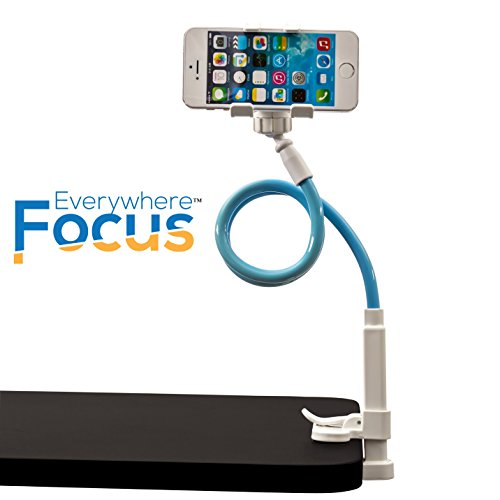 EverywhereFocus(TM) Cell Phone Holder For Desk, Flexible 360 Cool Universal Smartphone Stand,! Strong Clamp & 2 Stick, Devices Up To 4 Wide. Perfect For Vblogging & Video Chatting!