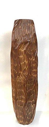 Baan Tawai, Chiang Mai, Mango Wood Vase Hand-Crafted, Floor Vase 30 inches (No.007) by WADSUWAN SHOP