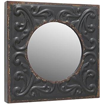 Amazon.com: Stonebriar Round Mirror with Distressed Square Metal Tin ...