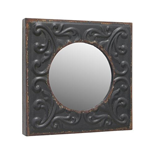 Stonebriar Round Mirror with Distressed Square Metal Tin Frame ; Industrial Wall Decor ; Distressed Finish ; With Attached Wall Hanger (Mirrors Metal Framed Decorative)