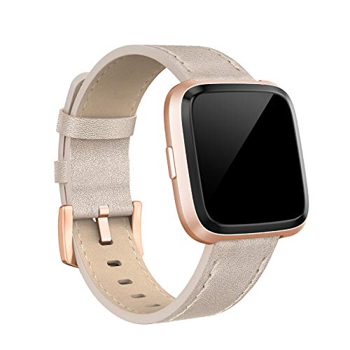 SWEES Compatible with Versa Bands Leather Small & Large, Genuine Leather Band with Stainless Steel Buckle Strap Replacement Wristband Compatible for Versa Women Men, Rose Gold, Black, Brown, ()