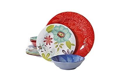 Gibson Studio 116500.12 Flora 12 Piece Melamine Dinnerware Set, Mix and Match