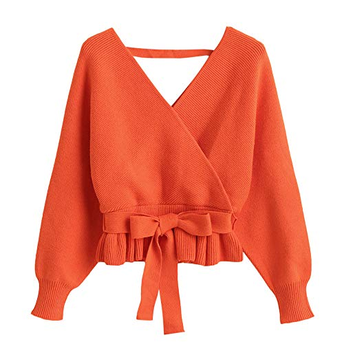ZAFUL Women's Plunging V Neck Sweater Batwing Long Sleeve Jumper Wrap Belted Waist Ruffle Pullover Top