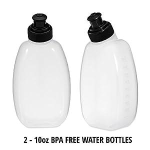 2 x 10oz BPA Free Water Bottle for BRINGIT Running Hydration Belt