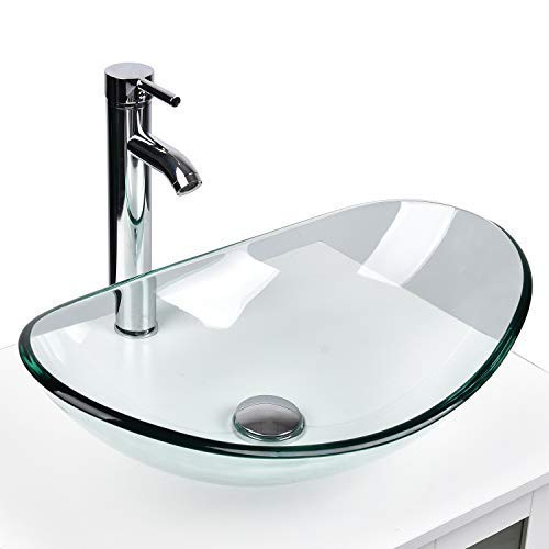 YOURLITE Modern Tempered Glass Sink Bathroom Vanity Vessel Sink and Faucet Combo Boat Style Utility Sink Above Counter