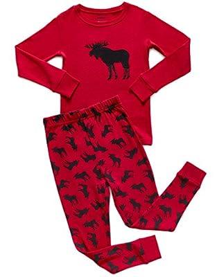 "Leveret Boys Girls ""Moose"" ""Reindeer"" 2 Piece Pajama Christmas 100% Cotton (Size 12M-14 Years)"