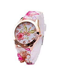 Cokoo Women Silicone Printed Flower Analog Causal Quartz Bracelet Wrist Watches Pink