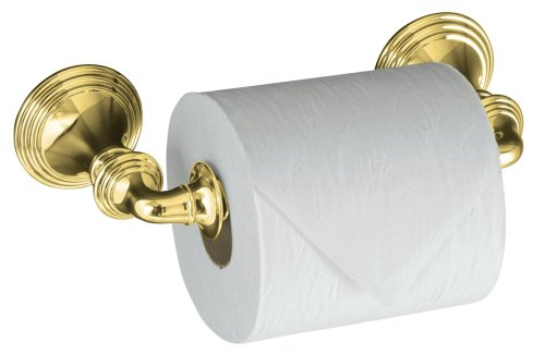 KOHLER K-10554-PB Devonshire Toilet Tissue Holder, Double Post, Vibrant Polished (Kohler Brass Toilet Paper Holder)