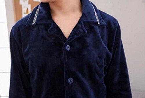 Cashmere Flanella Lunghe D'autunno Servizio Blue E Pigiama Uomo Inverno Pezzi A Due In Set Di Caldo Maniche Domicilio wFgfY