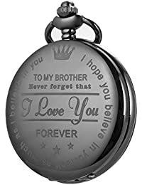 Pocket Watch Men Personalized Black Chain SIBOSUN Quartz Gift to My Brother Engraved Present Full Hunter