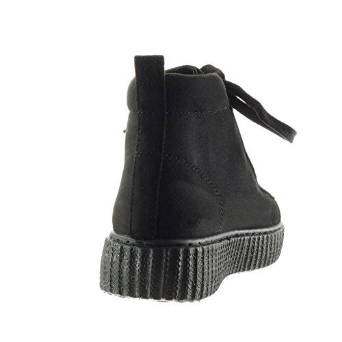 Baskets 4 Compensé Mode Noir Plateforme Angkorly Talon Cm Montante Chaussure Femme x6ww8qg