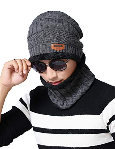 Sombrero con Espesado para Negro Invierno Niño Letuwj Bufanda Niños EZ47qvw