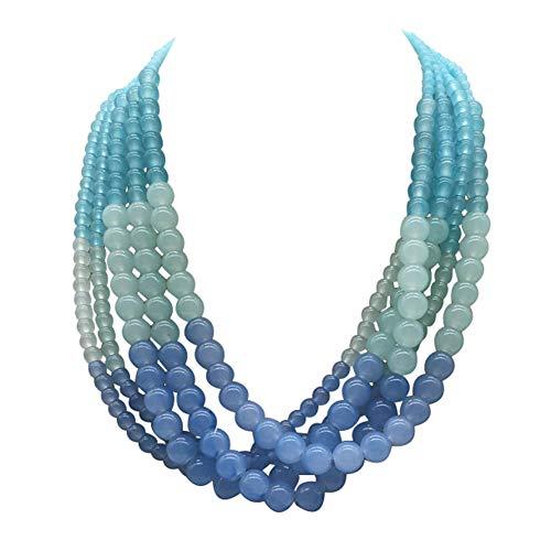 JHWZAIY 5 LayersStone Beads Statement Beaded Layered Strands Necklace Earrings Set -