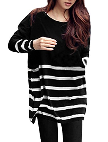 Allegra K Ladies Stripes Stretchy Ribbed Spring Tunic Knit Shirt M Black White
