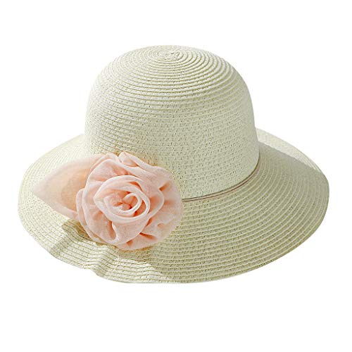 Sun Straw Fedora Beach Hat Fine Braid UPF56+ for Both Women Men,Panama Wide Brim Sun Cap Sun Visor Hats UV White