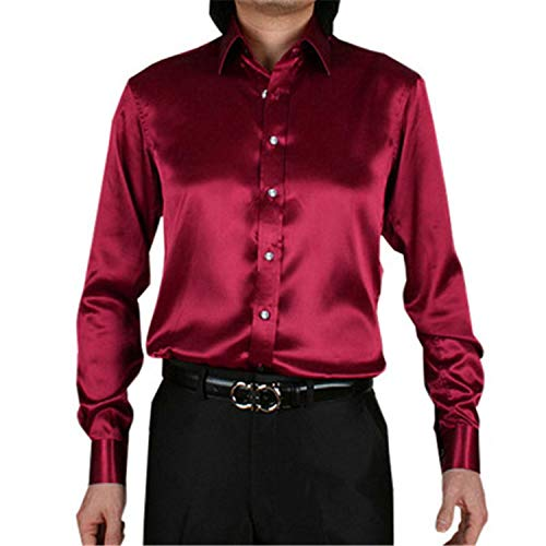Silk Satin Shirt Men Chemise Homme Casual Long Sleeve Slim Fit Mens Dress Shirts Business Wedding Male Shirt Silver