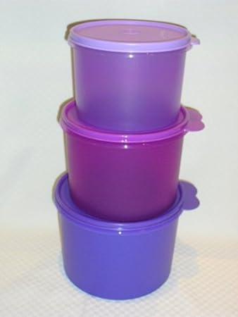 Tupperware Classic 3pc Pantry Canister Set New RARE Multi Purple