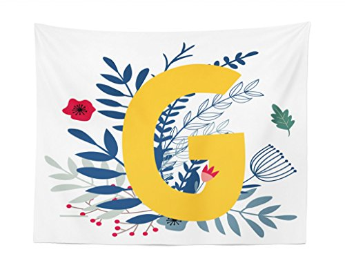 Monogram Tapestry - Lunarable Monogram Tapestry, Upper Case Letter G Colorful Spring Nature Backdrop Floral Cartoon Style Alphabet, Fabric Wall Hanging Decor for Bedroom Living Room Dorm, 28 W X 23 L inches, Multicolor