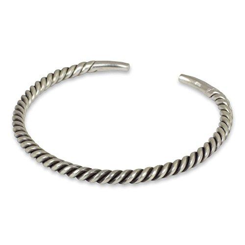 (NOVICA .925 Sterling Silver Men's Twist Cuff Bracelet, 6.75