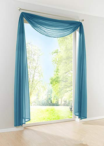 YJ-Bear Solid Color Window Sheer Voile Scarf Elegant Window Treatments Valance for Wedding Arch Birthday Party Decor Home Decoration 55