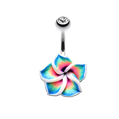 Inspiration Dezigns Belly Button Navel Ring Hawaiian Plumeria Flower Non-Dangle 14G
