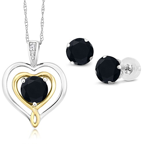 (Gem Stone King 1.87 Ct Round Black Onyx 10K White Gold Pendant Earrings Set)