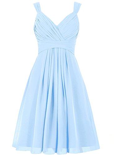 Sexy VKStar d'honneur Soire Ciel Robe Col V Crmonie Longue Mi Demoiselle Robe Robe Cocktail Bleu Mousseline Chic Bretelles Femme 04641n