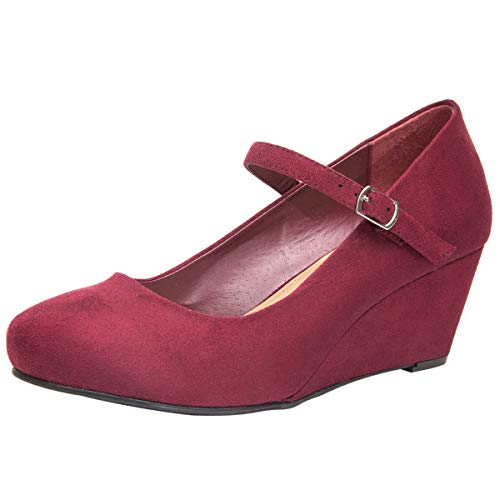Wide Width Mary Jane Wedge Shoes for Women w/Ankle Buckle Strap, Plus Size Heel Pump w/Round Closed Toe Rubber Sole Memory Foam Insole, Black, Red, Burgundy (Burgundy,Size 9.5) (Shoes Wedge Mary Jane)